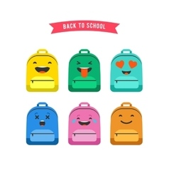 Smiley emoticons and emoji bag backpack set vector
