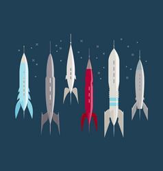 Space rocket retro spaceship spacecraft vintage vector