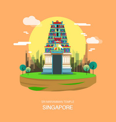 Sri mariamman temple landmark in singapore vector