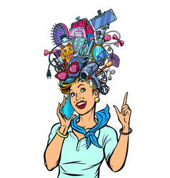 stewardess woman dreams about gadgets vector image