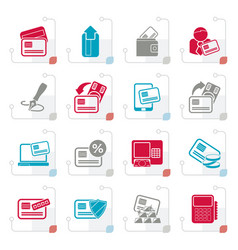 Stylized credit card pos terminal and atm icons vector