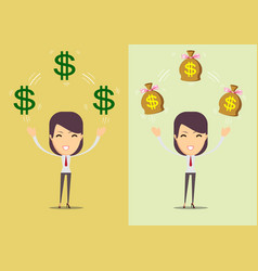 successful happy woman with money set vector image