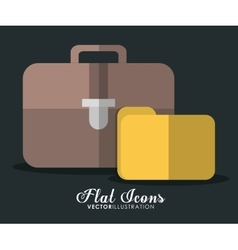 Suitcase and document icon Office Instrument vector