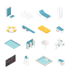 Swimming pool isometric elements set vector