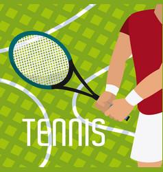 Tennis racket on player hands vector