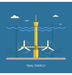 Tidal power plant and factory Water turbines vector image