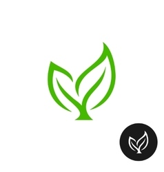 Two green leaves with a branch icon vector