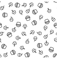 Variety delicious muffins seamless pattern vector