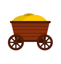vintage wooden cart icon flat style vector image