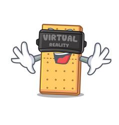 Virtual reality graham cookies mascot cartoon vector