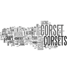 What is a corset text word cloud concept vector