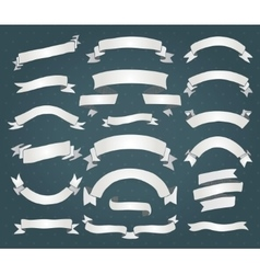 White Paper Ribbons Banners Set vector