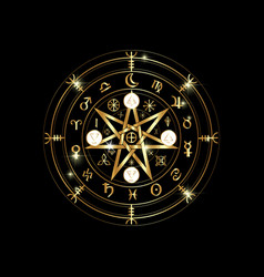 Wiccan symbol protection gold mandala runes vector