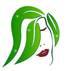 woman green leaf hair abstract hair salon icon vector image
