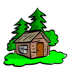Wooden cabin in the woods sketch vector