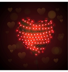 Abstract heart background with luminous garland vector image