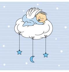 baby boy sleeping on a cloud vector image vector image