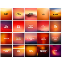 big set of 20 square blurred nature orange red vector image vector image