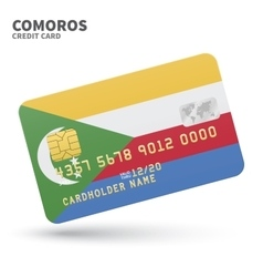 Credit card with Comoros flag background for bank vector image vector image