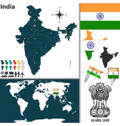 India map world vector image vector image