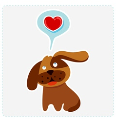 cute cartoon dog is thinking to love vector image
