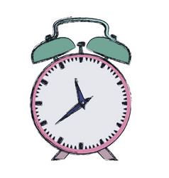 hand drawing color pink alarm clock vector image