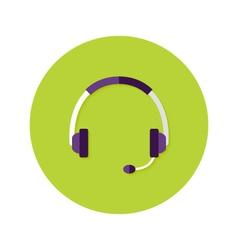 Headset Callback Flat Circle Icon vector image
