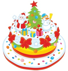 Christmas cake decorated vector image vector image
