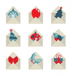 Christmas mail icons vector image vector image