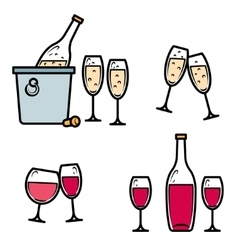 Drinking wine and champagne icon set vector image