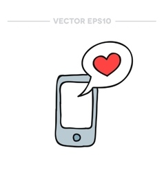 doodle icon cellphone with love message vector image