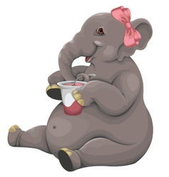 Elephant eats yogurt vector image
