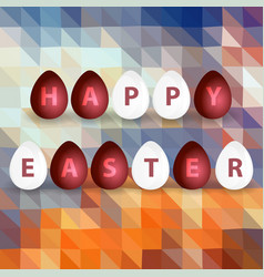 Happy easter from red and white egg abstract vector