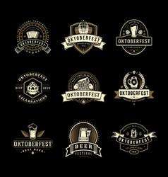 oktoberfest labels badges and logos set beer vector image