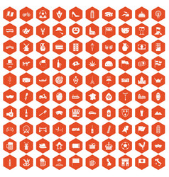 100 europe countries icons hexagon orange vector