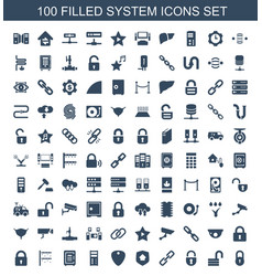 100 system icons vector