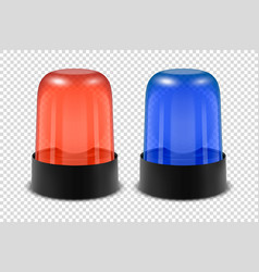3d realistic red and blue police flasher vector image