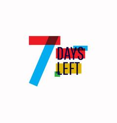 7 days left number template design vector