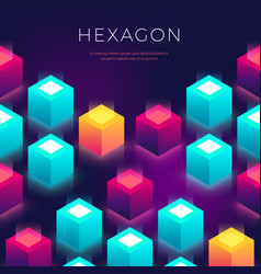 abstract background with 3d shapes hexagon vector image