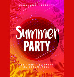 abstract flyer poster design summer beach party vector image