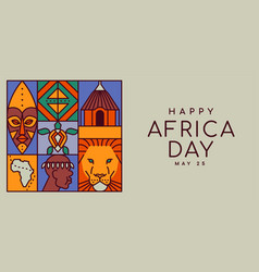 africa day banner culture flat cartoon concept vector image