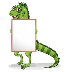 An iguana holding a framed board vector