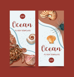 Banner design with turtle and shells on seashore vector