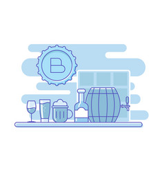 bar assortmentoutline alcohol on bar table vector image