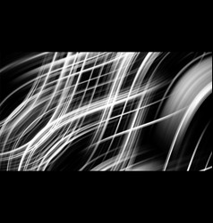 black and white background with glowing waves vector image