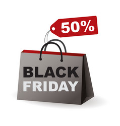 black paper bag and word black friday vector image