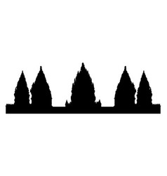 Black silhouette of old prambanan hindu temple vector