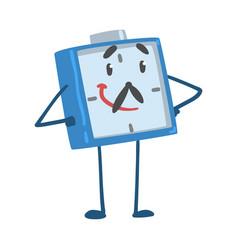 Blue smiling alarm clock character standing vector