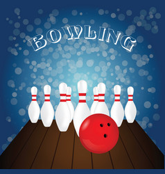 Bowling poster with white pin and red ball on vector