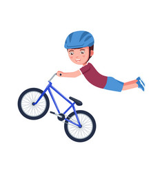 Boy performs a stunt in air on a bmx bike vector